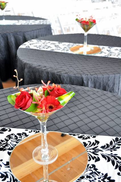 Centerpieces in Large Martini Glass